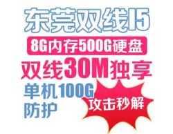 东莞双线I5 8G内存 500G硬盘 双线30M独享 单机100G防护 攻击秒解