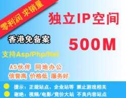 限时抢购:独立IP空间、SEO必备/香港500M支持Asp、Php、Net可用IP访问