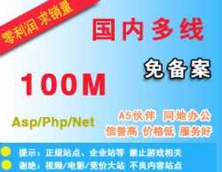抢!新品:国内免备案空间-100M送数据库支持Asp、Php、Net不限IIS高速稳定