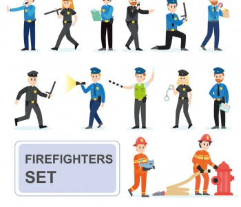 VIP商用 警察和消防员人物图标大全素材