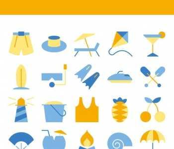 VIP商用_夏天沙滩主题图标PNG素材