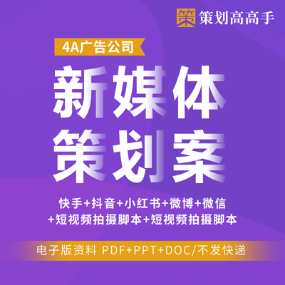 新媒体快手抖音微博信创意营销策划推广方案例4A广告公司提案参考