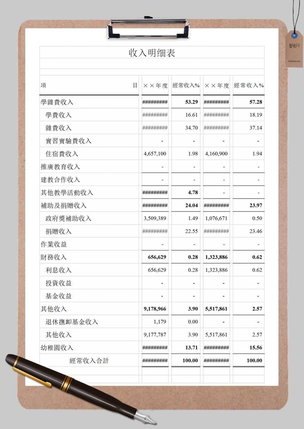 学校收入明细表表格通用范本Excel模板